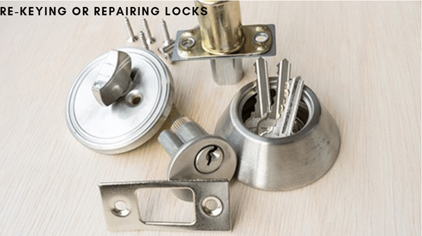 Re-keying or repairing locks