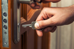 Door with loose handle